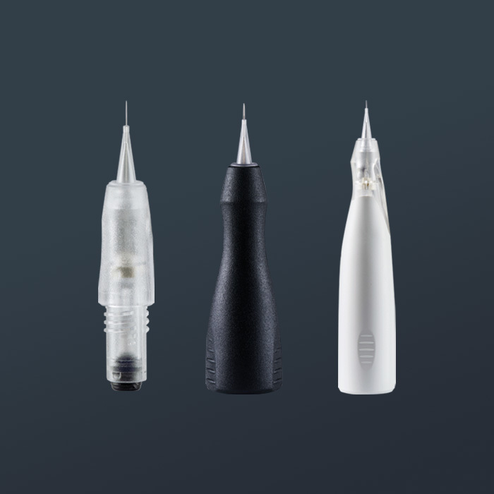 Three different amiea Highend needle modules, on a grey background